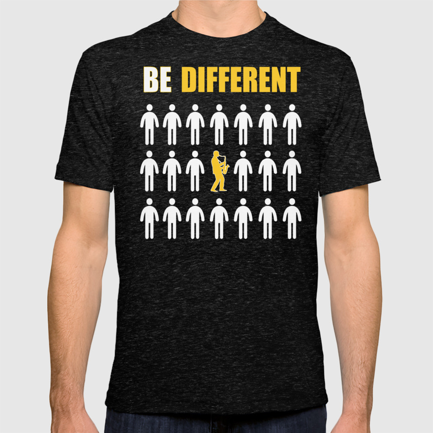 1993d79f Saxophone Player Gift Be Different T-shirt by fatmosquito | Society6