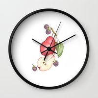 fruits Wall Clocks featuring Fruits.... :\ by Or Arad