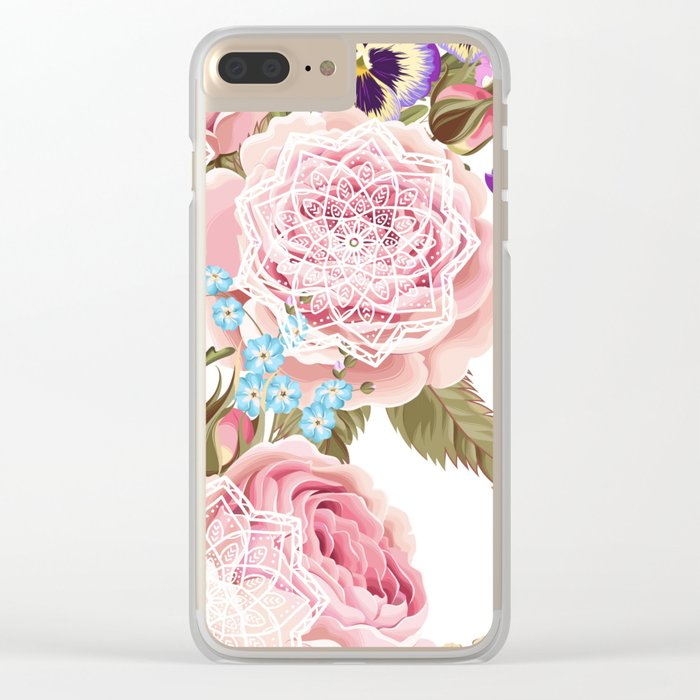 Spring flowers with mandalas Clear iPhone Case