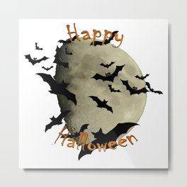 Happy Halloween  Bats and Haunting Moon Metal Print