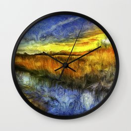 Sunset River Van Gogh Wall Clock