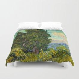 Cypresses Oil Painting Landscape Vincent van Gogh Duvet Cover