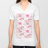 magnolia V-neck T-shirts featuring Magnolia by SURFACE HUG