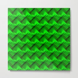 Stripes of green triangles with the shadow of squares and the intersection of rhombuses. Metal Print