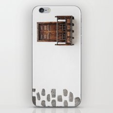 Wooden window door and balcony in a white wall. La Palma, Canary Island. iPhone Skin