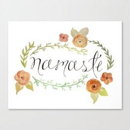 Namaste Floral Watercolor Canvas Print