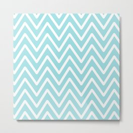 Chevron Wave Vivid Blue Metal Print