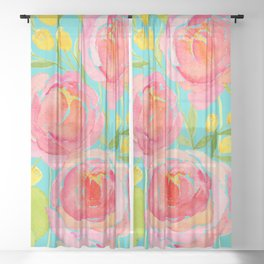 Pink Peonies On Turquoise - Watercolor Floral Print  Sheer Curtain