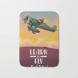 Learn To Fly, vintage flight travel poster Bath Mat
