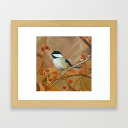 Chickadee with Berries Framed Art Print