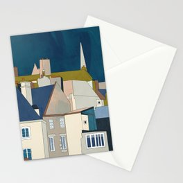 france houses abstract art Stationery Cards