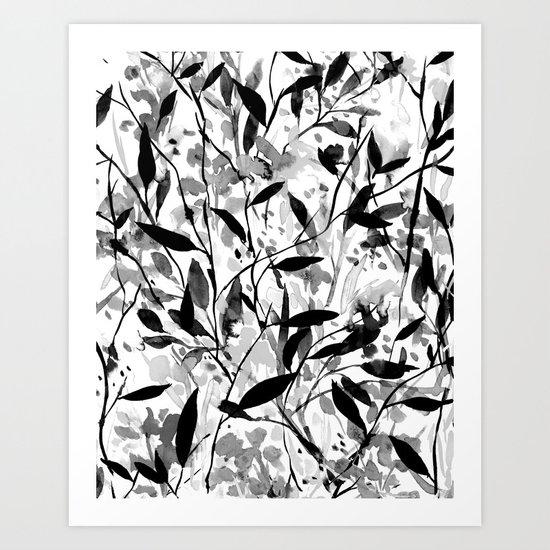 Wandering Wildflowers Black and White Art Print