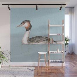 Great crested grebe pencildrawing Wall Mural