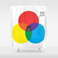 dark side Shower Curtains featuring Dark Side by I Love Doodle