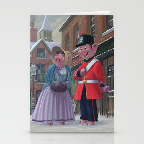 Victorian pigs on a romantic date in snowy street Stationery Cards