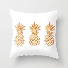 Orange Swirl Pineapples on White Throw Pillow