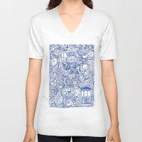 portugal V-neck T-shirts featuring Portugal collage by Klara Aldana