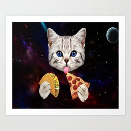Space Cat With Taco And Pizza Art Print