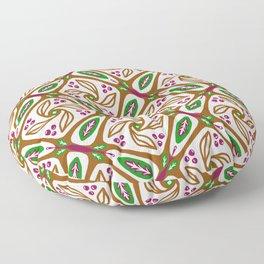 Retro Nature Leaf Geometric - Brown Green Geo 1 Floor Pillow