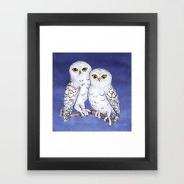 Two lovely snowy owls Framed Art Print