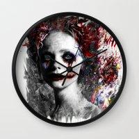 harley quinn Wall Clocks featuring Harley Quinn by ururuty