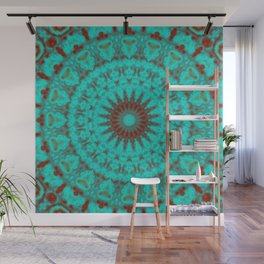 Mandala Fractal in Oxidized Copper 2 Wall Mural