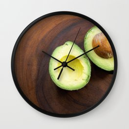 Avocado on Acacia Wood Wall Clock
