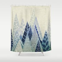 snow Shower Curtains featuring Snow Top by rskinner1122