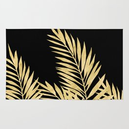 Palm Leaves Golden On Black Rug