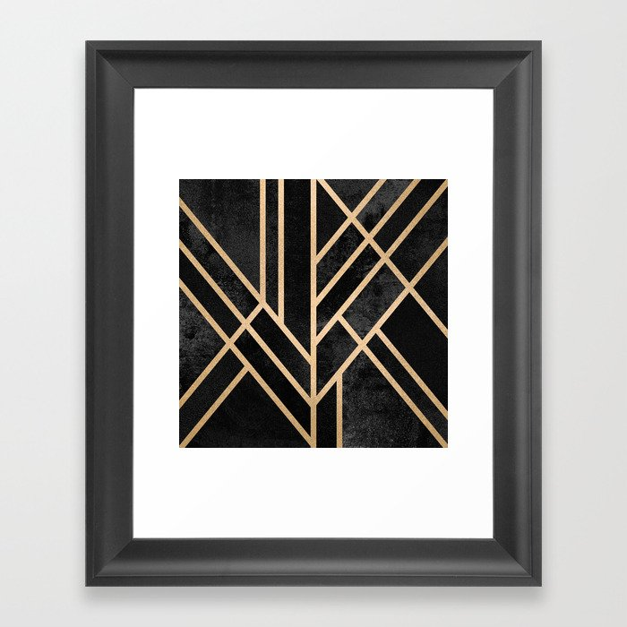 Art Deco Black Gerahmter Kunstdruck
