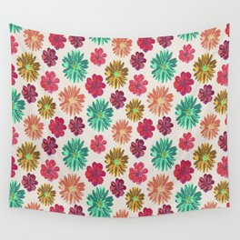 Floral Scatter Pattern-Blue,Pink&Purple Wall Tapestry