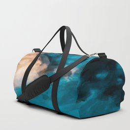 vintage splash painting texture abstract in blue and brown Duffle Bag