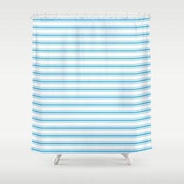 Oktoberfest Bavarian Blue and White Large Mattress Ticking Stripes Shower Curtain
