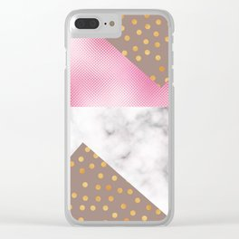 pink foil marble Clear iPhone Case
