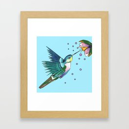 Hummingbird Blue Framed Art Print