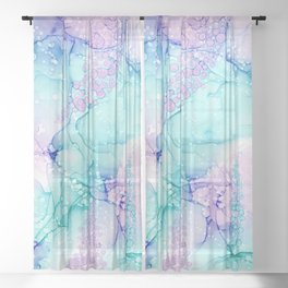 Mermaid Wishes: Original Abstract Alcohol Ink Painting Sheer Curtain