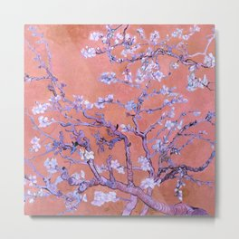 "Van Gogh's ""Almond blossoms"" with orange background Metal Print"