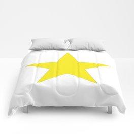 Yellow star on white Comforters