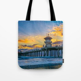 Colors Over Huntington Pier at Sunset Tote Bag