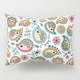 Hedgehog Paisley_Colors and White Pillow Sham
