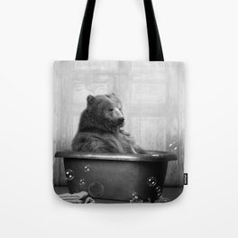 Bear with Rubber Ducky in Vintage Bathtub Tote Bag