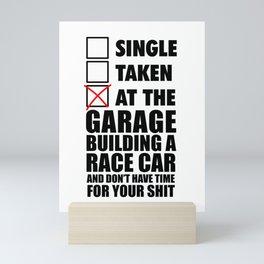 At the garage building a race car Mini Art Print