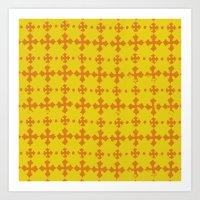 yellow pattern Art Prints featuring yellow pattern by JesseRayus