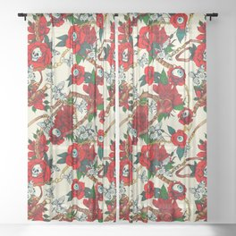 Flowery eyes on straps and chains Sheer Curtain