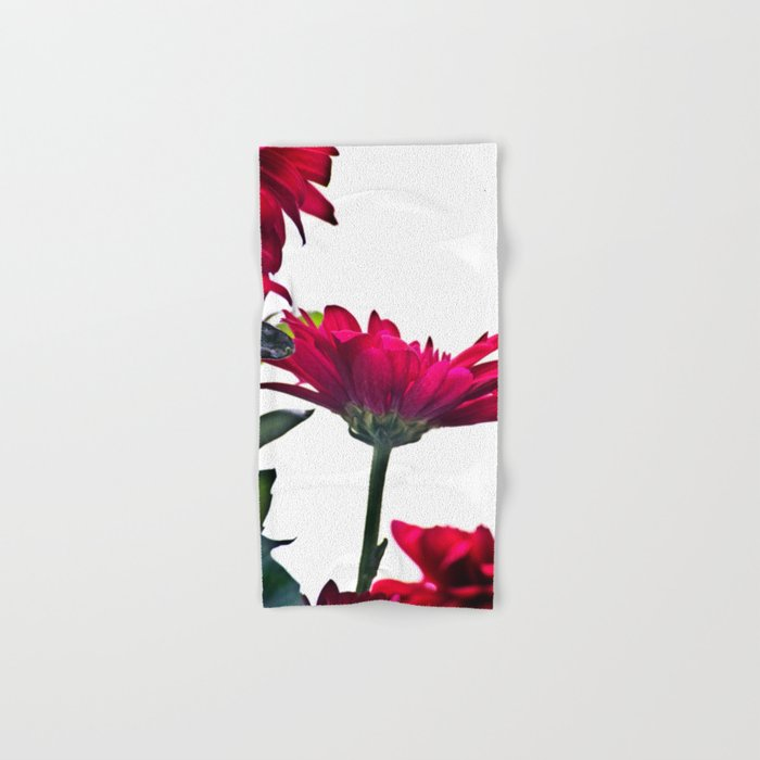 Red Chrysanthemum Flowers Hand & Bath Towel