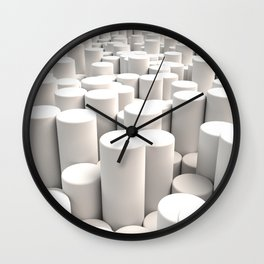 Pattern of white cylinders Wall Clock