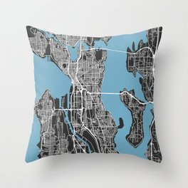 SEATTLE City Map | Minnesota US | Black | More Colors, Review My Collections Throw Pillow