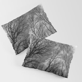 Cloudy day in the woods, black and white Pillow Sham