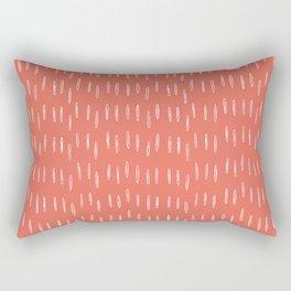 Boho, Raindrop, Mudcloth, Coral Rectangular Pillow