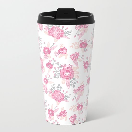 Pink pastel florals cute nursery baby girl decor floral botanical bouquet blooms Metal Travel Mug
